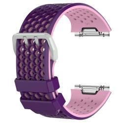 Okosóra szíj - légáteresztő, sportoláshoz - L méret, 95+112mm hosszú, 25mm széles - LILA / RÓZSASZÍN - Fitbit Ionic