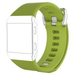 Okosóra szíj - szilikon, Twill mintás - ZÖLD - L méret, 169mm-től 204mm-es méretű csuklóig ajánlott - Fitbit Ionic