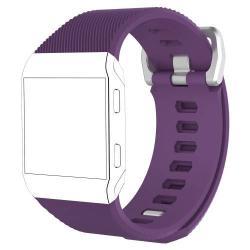 Okosóra szíj - szilikon, Twill mintás - LILA - L méret, 169mm-től 204mm-es méretű csuklóig ajánlott - Fitbit Ionic