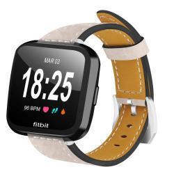 Okosóra szíj - BÉZS - valódi bőr - Fitbit Versa