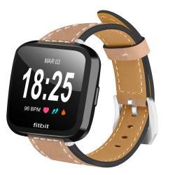 Okosóra szíj - KHAKI - valódi bőr - Fitbit Versa