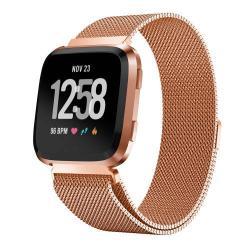 Okosóra szíj - rozsdamentes acél, mágneses - ROSE GOLD - 255 mm hosszú, L méret, max 220mm-es csuklóra - Fitbit Versa