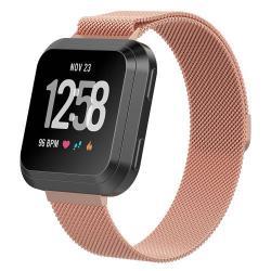 Okosóra szíj - rozsdamentes acél, mágneses - ROSE GOLD - 195 mm hosszú, S méret - Fitbit Versa
