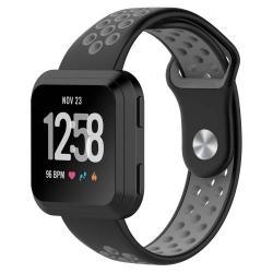 Okosóra szíj - légáteresztő, sportoláshoz - FEKETE / SZÜRKE - Fitbit Versa