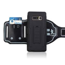 SPORT műanyag védő tok / hátlap - FEKETE - szilikon betétes, sport karpánttal, bankkártyatartó zseb - ERÕS VÉDELEM! - SAMSUNG SM-N950F Galaxy Note8
