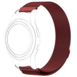 Fém okosóra szíj - PIROS - fém háló kialakítás, mágneses, 245mm hosszú, 20mm széles - SAMSUNG Gear Fit 2 SM-R360 / SAMSUNG Gear Fit 2 Pro SM-R365