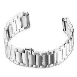 Okosóra szíj - EZÜST - rozsdamentes acél, speciális pillangó csat - SAMSUNG Galaxy Watch 46mm / SAMSUNG Gear S3 Classic / SAMSUNG Gear S3 Frontier - 18cm hosszú
