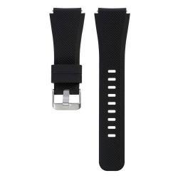 Okosóra szíj - szilikon, Twill mintás - FEKETE - 20cm hosszú - SAMSUNG Galaxy Watch 46mm / SAMSUNG Gear S3 Classic / SAMSUNG Gear S3 Frontier