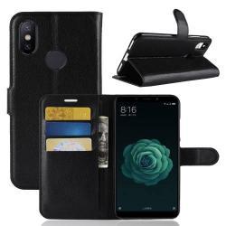 WALLET notesz tok / flip tok - FEKETE - asztali tartó funkciós, oldalra nyíló, rejtett mágneses záródás, bankkártyatartó zseb, szilikon belső - Xiaomi Mi 6X / Xiaomi Mi A2