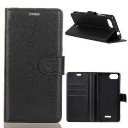 Notesz tok / flip tok - FEKETE - asztali tartó funkciós, oldalra nyíló, rejtett mágneses záródás, bankkártyatartó zseb, szilikon belső - Xiaomi Redmi 6A