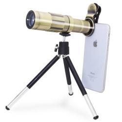 UNIVERZÁLIS kameralencse 20X HD optikai zoommal, mini tripod állvánnyal, teleszkóp - ARANY
