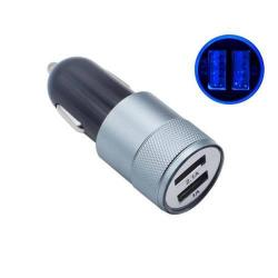 Szivargyújtós töltő / autós töltő - 2db USB aljzat, 1x 2.1A / 1x 1A - SZÜRKE