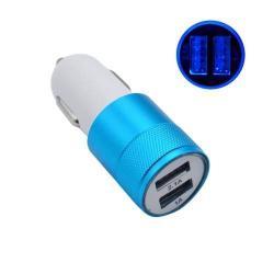 Szivargyújtós töltő / autós töltő - 2db USB aljzat, 1x 2.1A / 1x 1A - KÉK