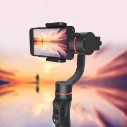 Kézi stabilizátor okostelefonhoz és fényképezőgéphez - 3 tengelyes, elektronikus, bluetooth, 360 fokban forgatható - FEKETE