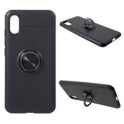 OTT! METAL RING szilikon védő tok / hátlap - FEKETE - fém ujjgyűrű, tapadófelület mágneses autós tartóhoz, ERŐS VÉDELEM! - Xiaomi Mi 8 Explorer