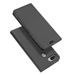 DUX DUCIS slim design notesz / mappa tok - SÖTÉT SZÜRKE - oldalra nyíló flip cover, asztali tartó funkció, szilikon belső - Xiaomi Redmi 6 - GYÁRI