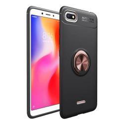 OTT! METAL RING szilikon védő tok / hátlap - FEKETE / ROSE GOLD - fém ujjgyűrű, tapadófelület mágneses autós tartóhoz, ERŐS VÉDELEM! - Xiaomi Redmi 6A