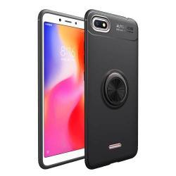 OTT! METAL RING szilikon védő tok / hátlap - FEKETE - fém ujjgyűrű, tapadófelület mágneses autós tartóhoz, ERŐS VÉDELEM! - Xiaomi Redmi 6A