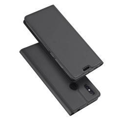DUX DUCIS slim design notesz / mappa tok - SÖTÉT SZÜRKE - oldalra nyíló flip cover, asztali tartó funkció, szilikon belső, mágneses záródás - Xiaomi Mi Max 3 - GYÁRI