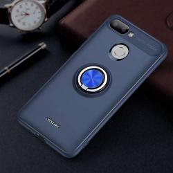 OTT! METAL RING szilikon védő tok / hátlap - SÖTÉTKÉK - fém ujjgyűrű, tapadófelület mágneses autós tartóhoz, ERŐS VÉDELEM! - Xiaomi Redmi 6
