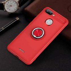 OTT! METAL RING szilikon védő tok / hátlap - PIROS - fém ujjgyűrű, tapadófelület mágneses autós tartóhoz, ERŐS VÉDELEM! - Xiaomi Redmi 6