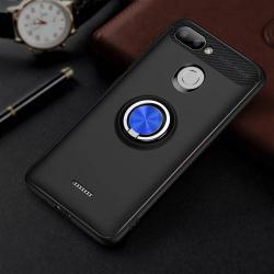 OTT! METAL RING szilikon védő tok / hátlap - FEKETE / KÉK - fém ujjgyűrű, tapadófelület mágneses autós tartóhoz, ERŐS VÉDELEM! - Xiaomi Redmi 6