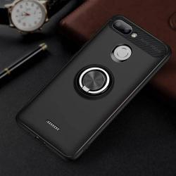OTT! METAL RING szilikon védő tok / hátlap - FEKETE - fém ujjgyűrű, tapadófelület mágneses autós tartóhoz, ERŐS VÉDELEM! - Xiaomi Redmi 6