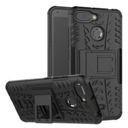 OTT! VROOM műanyag védő tok / hátlap - FEKETE - AUTÓGUMI MINTÁS - szilikon betétes, asztali tartó funkciós, ERŐS VÉDELEM! - Xiaomi Redmi 6
