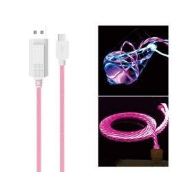 KUCIPA Luminous 2A adatátvitel adatkábel / USB töltő - USB / Type-C, 1m - sötétben világít - RÓZSASZÍN