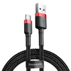 BASEUS Kevlar Series 3A adatátviteli kábel, USB töltő - Type-C / USB, 1m, szövettel bevont, 5V/3A és 9V/2A gyorstöltés támogatás - FEKETE / PIROS - GYÁRI
