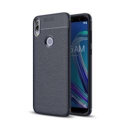 OTT! LEATHER SERIES szilikon védő tok / bőrhatású hátlap - SÖTÉTKÉK - ERŐS VÉDELEM! - ASUS Zenfone Max Pro (M1) (ZB601KL) / ASUS Zenfone Max Pro (M1) (ZB602KL)