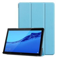 Notesz / mappa tok - VILÁGOSKÉK - oldalra nyíló flip cover, TRIFOLD asztali tartó funkciós, mágneses záródás - HUAWEI MediaPad T5 10