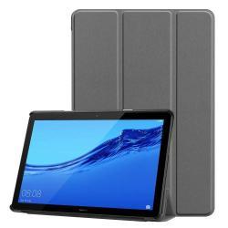 Notesz / mappa tok - SZÜRKE - oldalra nyíló flip cover, TRIFOLD asztali tartó funkciós, mágneses záródás - HUAWEI MediaPad T5 10