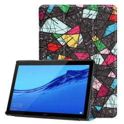 Notesz / mappa tok - oldalra nyíló flip cover, TRIFOLD asztali tartó funkció, mágneses záródás, erősített sarkok - SZÍNES MINTÁS - HUAWEI MediaPad T5 10