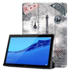 Notesz / mappa tok - oldalra nyíló flip cover, TRIFOLD asztali tartó funkció, mágneses záródás, erősített sarkok - EIFFEL TORONY MINTÁS - HUAWEI MediaPad T5 10