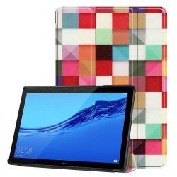 Notesz / mappa tok - oldalra nyíló flip cover, TRIFOLD asztali tartó funkció, mágneses záródás, erősített sarkok - SZÍNES NÉGYZET MINTÁS - HUAWEI MediaPad T5 10