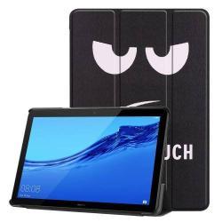 Notesz / mappa tok - oldalra nyíló flip cover, TRIFOLD asztali tartó funkció, mágneses záródás, erősített sarkok - Do Not Touch Me MINTÁS - HUAWEI MediaPad T5 10