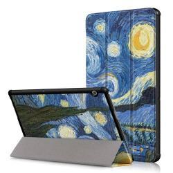 Notesz / mappa tok - oldalra nyíló flip cover, TRIFOLD asztali tartó funkció, mágneses záródás - OLAJFESTMÉNY MINTÁS - HUAWEI MediaPad T5 10