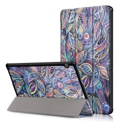 Notesz / mappa tok - oldalra nyíló flip cover, TRIFOLD asztali tartó funkció, mágneses záródás - VIRÁG MINTÁS - HUAWEI MediaPad T5 10