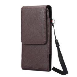 UNIVERZÁLIS álló bőrtok - mágnespatent, elforgatható övcsipesz, bankkártyatartó, 160 x 78 x 18mm - BARNA