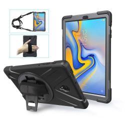 Műanyag védő tok / hátlap - szilikon betétes, kitámasztható, 360°-ban elforgatható csuklópánt, hevederrel - ERŐS VÉDELEM! - FEKETE - SAMSUNG SM-T590 Galaxy Tab A 10.5 Wi-Fi / SAMSUNG SM-T595 Galaxy Tab A 10.5 LTE