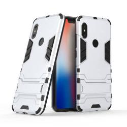 TRANSFORM műanyag védő tok / hátlap - EZÜST - szilikon betétes, kitámasztható - ERŐS VÉDELEM! - Xiaomi Redmi Note 6 Pro