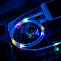USAMS Apple Lightning adatátviteli kábel / USB töltő - 2A, 1m, zenére VILÁGÍT! - FEHÉR - GYÁRI