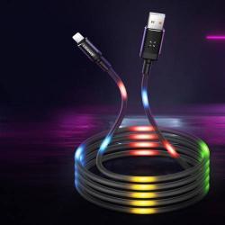 USAMS Apple Lightning adatátviteli kábel / USB töltő - 2A, 1m, zenére VILÁGÍT! - FEKETE - GYÁRI