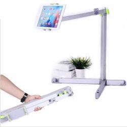 UNIVERZÁLIS Tablet / telefon tartó / állvány -  360 °-fokban forgatható, alumínium, tripod, összecsukható, állítható magasság 500-1500 mm-ig,  max 12