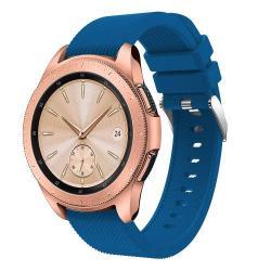 Okosóra szíj - szilikon, Twill mintás - SÖTÉTKÉK - 130mm + 85mm hosszú, 20mm széles, max 225mm-es csuklóra - SAMSUNG Galaxy Watch 42mm