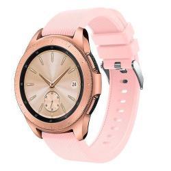 Okosóra szíj - szilikon, Twill mintás - RÓZSASZÍN - 130mm + 85mm hosszú, 20mm széles, max 225mm-es csuklóra - SAMSUNG SM-R810NZ Galaxy Watch 42mm