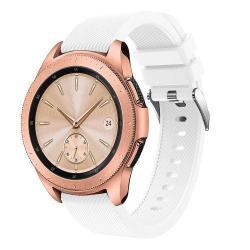 Okosóra szíj - szilikon, Twill mintás - FEHÉR - 130mm + 85mm hosszú, 20mm széles, max 225mm-es csuklóra - SAMSUNG SM-R810NZ Galaxy Watch 42mm