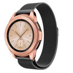 Okosóra szíj - rozsdamentes acél, mágneses - FEKETE - 235 mm hosszú, 20 mm széles, max 225mm-es csuklóra - SAMSUNG SM-R810NZ Galaxy Watch 42mm