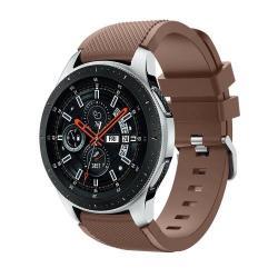 Okosóra szíj - szilikon, Twill mintás - BARNA - 125mm + 98mm hosszú, 22mm széles, max 215mm-es csuklóra - SAMSUNG Galaxy Watch 46mm / SAMSUNG Gear S3 Classic / SAMSUNG Gear S3 Frontier